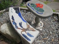 Bonsai Tree Stained Glass Bench